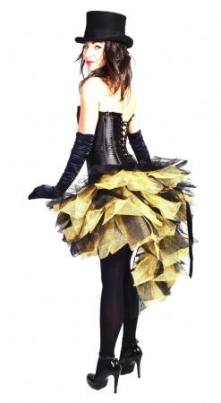 burlesque mardi gras carnival skirt black/gold with