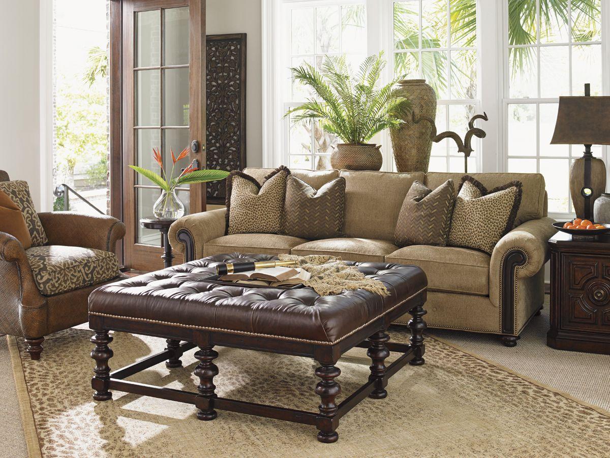 Kilimanjaro Heather Leather Cocktail Ottoman Tommy Bahama Decor Furniture Tommy Bahama Home #tommy #bahama #living #room
