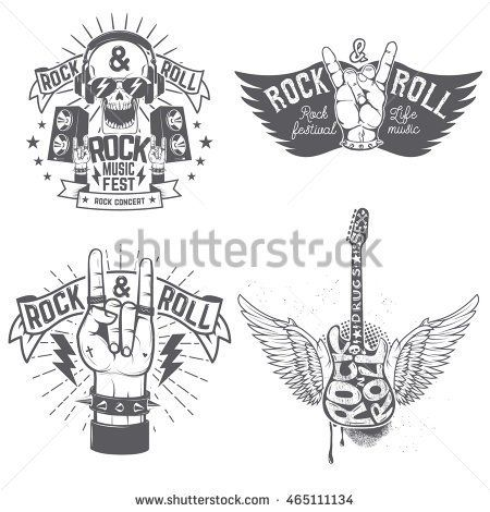 Rock Festival Flyer Template Human Hand With Rock And Roll Sign