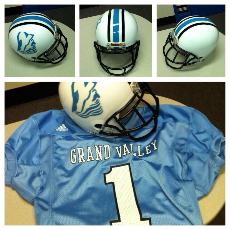 Grand Valley State University Jersey Helmet And Football Helmet