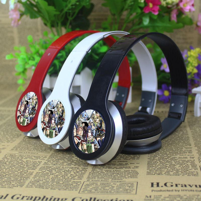 Anime Fairy Tail stereo hybrid foldable headband headphone Cosplay earphone PC MP3 Phone Headset with Box can Customized Digital Guru Shop