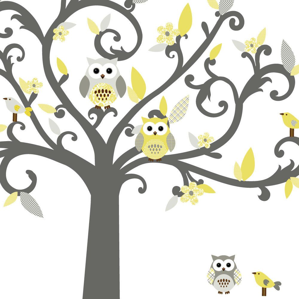 Owl tree wall decal with flowers and birds yellow and grey theme owl tree wall decal with flowers and birds yellow and grey theme vinyl wall decal amipublicfo Image collections