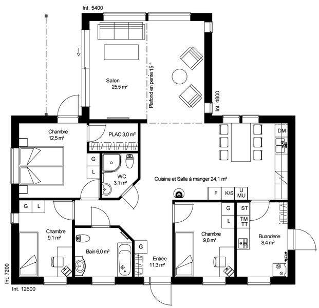 plan RDC Maison ossature bois suédoise basse consommation provenant - plans de maison gratuit plain pied