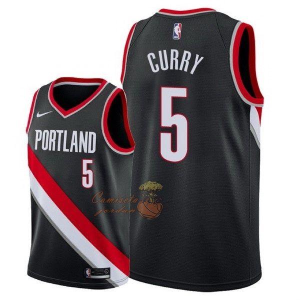 1d88d2b009f Replicas Camisetas NBA Nike Portland Trail Blazers NO.5 Seth Curry Negro  Icon 2018