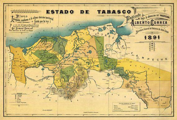 Estado de Tabasco  Old map of Tabasco 1891  Tabasco  Pinterest