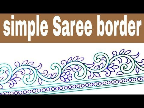 Youtube Hand Embroidery Flowers Border Pencil Sketch And Colors