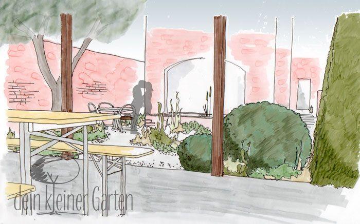 #Garten Konzept Blick von der Terrasse