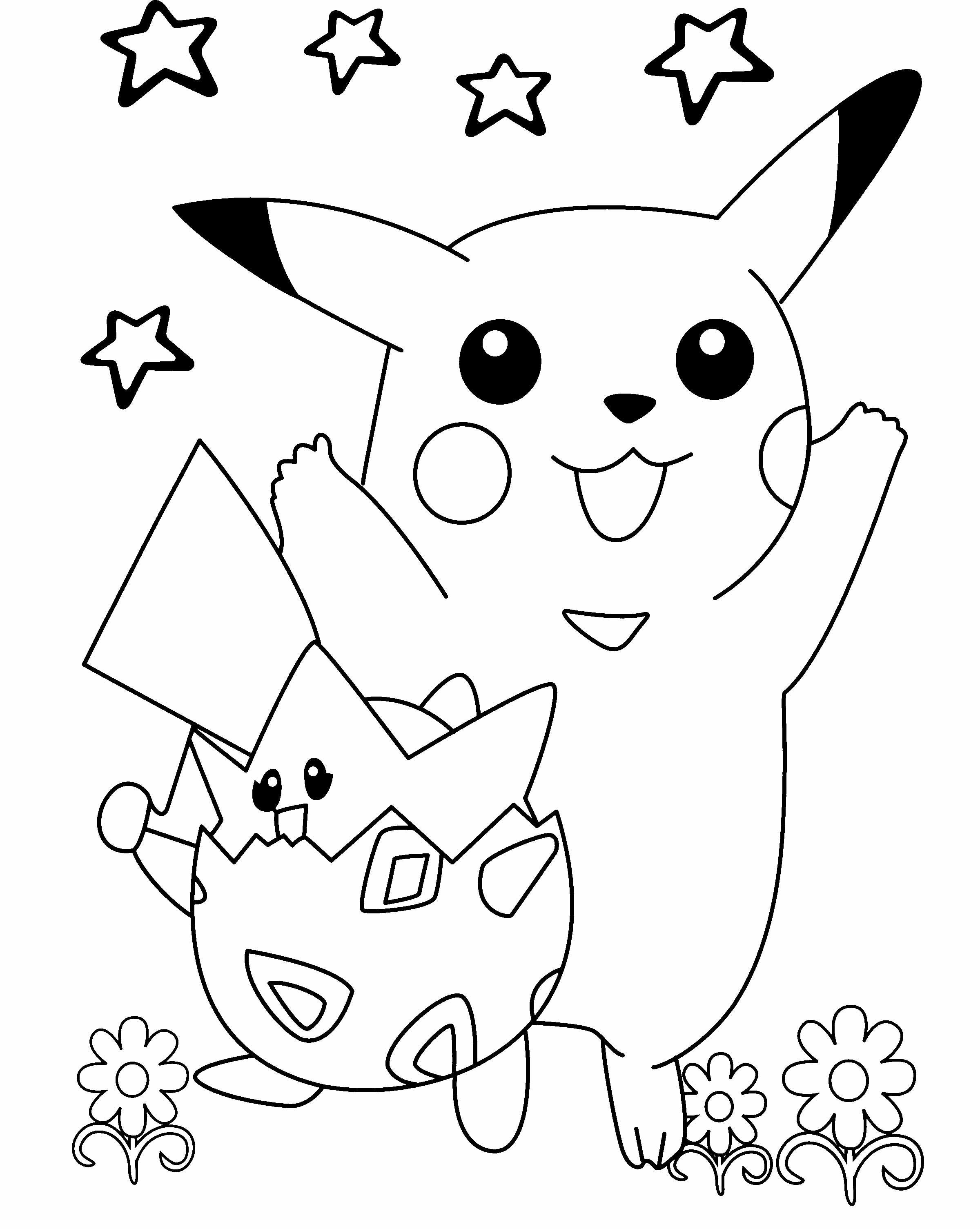 Pokemon Pikachu Playing In The Flower Garden Coloring Page