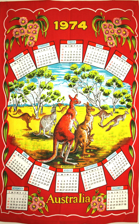Retro Vintage Calendar 1974 Australia Tea Towel Birthday