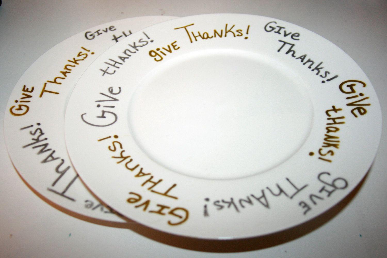 Give Thanks - Thanksgiving dinner plates or Thanksgiving dessert Plates - Set of 6. $25.00  sc 1 st  Pinterest & Give Thanks - Thanksgiving dinner plates or Thanksgiving dessert ...