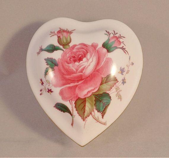 Spode Billingsley Rose Heart Shaped Trinket Pot Heart Ornament Heart Shapes Music Box Jewelry