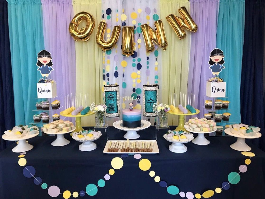 1st Birthday Dessert Table And Backdrop Decor Baby First Birthday Themes First Birthday Themes Dessert Table Birthday