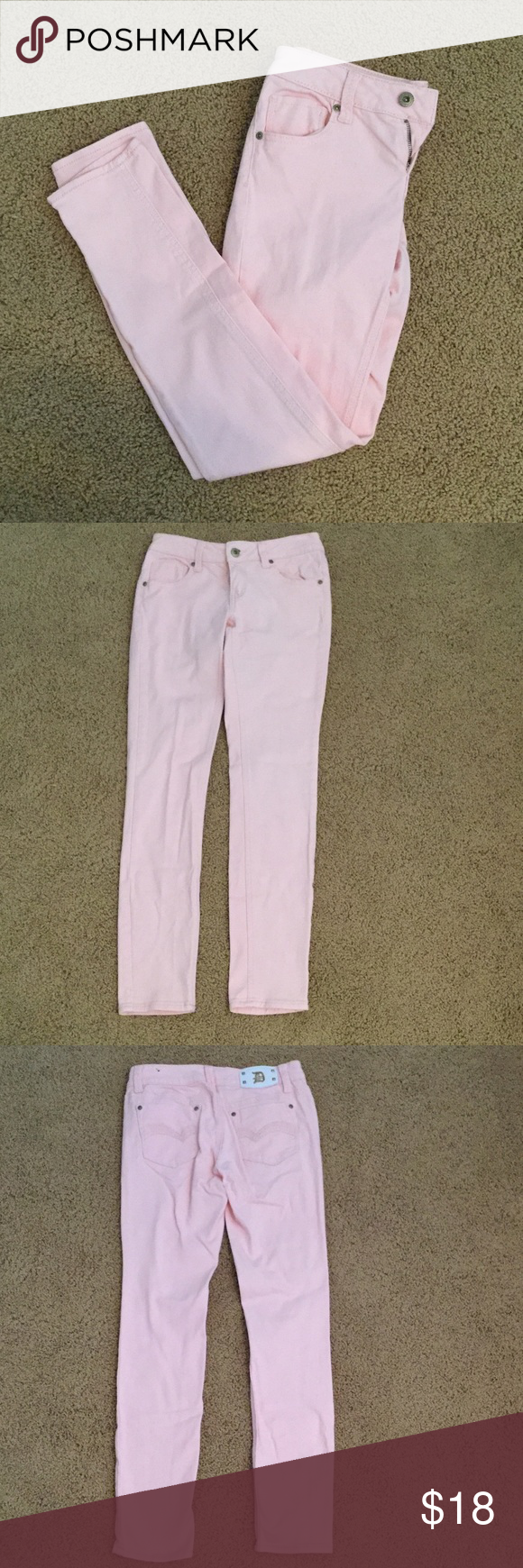 Baby Pink Dollhouse Jeans These jeans are a super cute baby pink color and look brand new! Willing to trade depending on item! Dollhouse Jeans Straight Leg