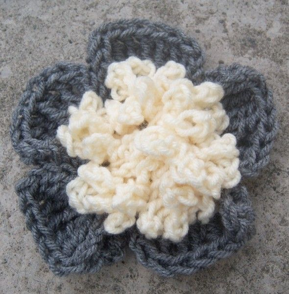 Charcoal Gray Crochet Flower Pin FREE SHIPPING by MLayneDesigns