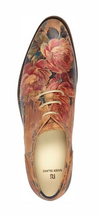 e0be806218 River Island Brown Floral Print Lace Up Shoes in Brown for Men ...
