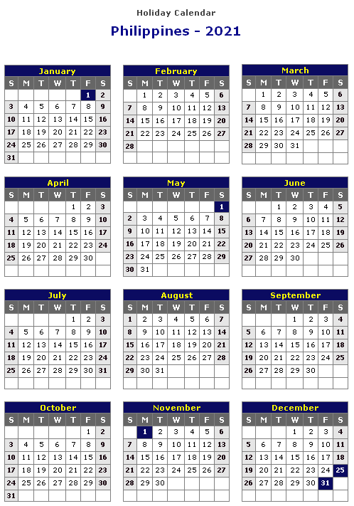 Philippines 2021 Printable Holiday Calendar Monthly Calendar Printable Free Printable Calendar Templates Calendar