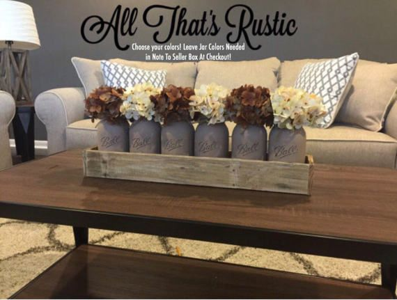 large mason jar centerpiece, table centerpiece, table decor, kitchen