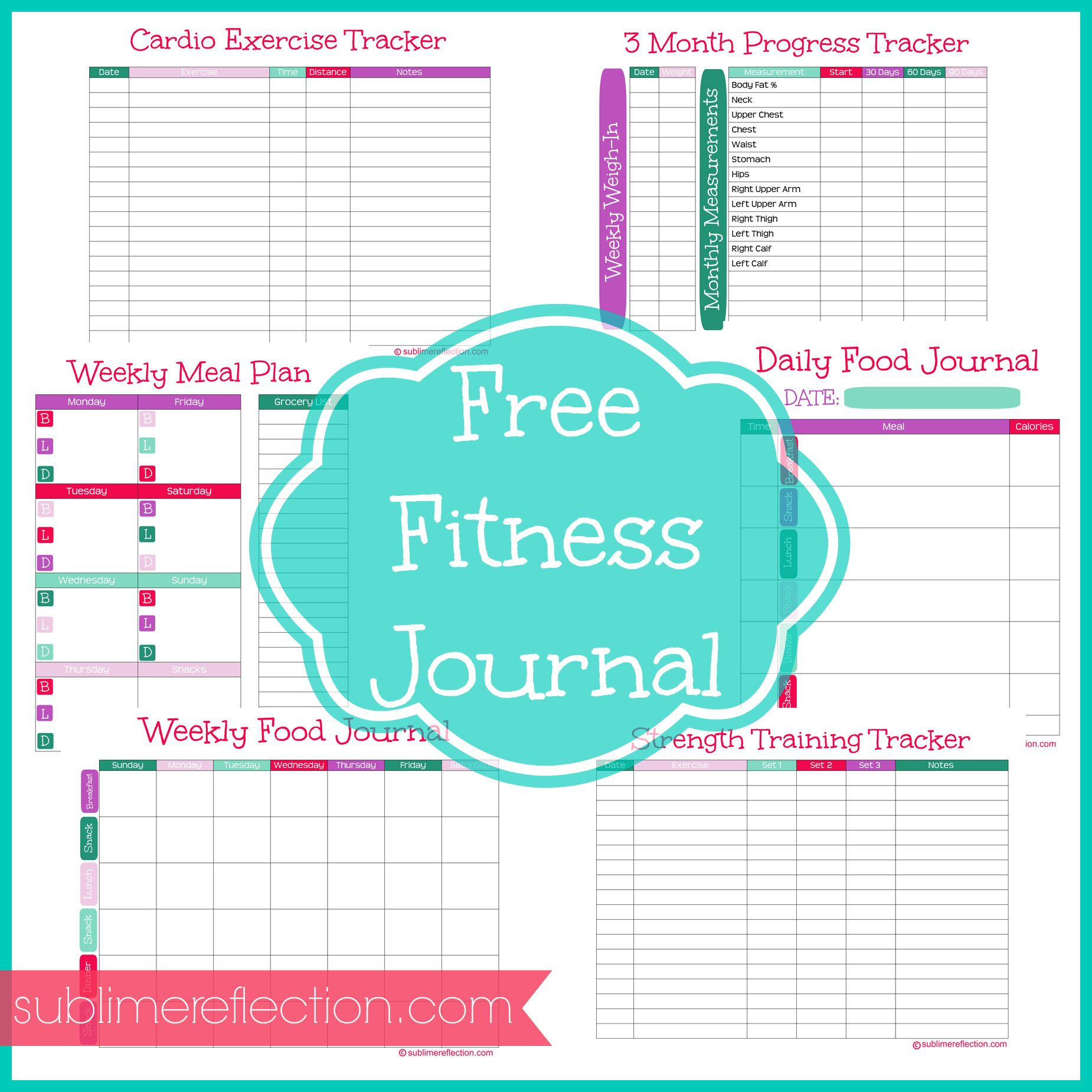 free downloadable fitness journal sublime reflection pinterest