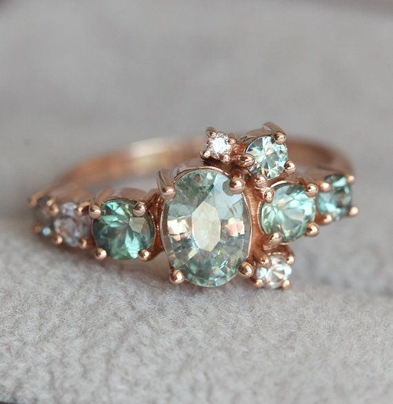 Light Green Sapphire Engagement Ring Cluster Ring Oval Etsy Green Sapphire Engagement Ring Engagement Rings Sapphire Oval Sapphire Engagement Ring