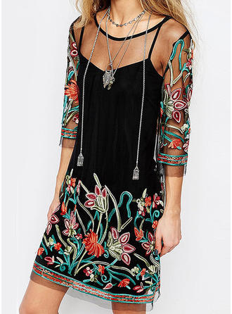 c041085ad9335 Embroidery/Floral 3/4 Sleeves Shift Above Knee Casual Dresses ...