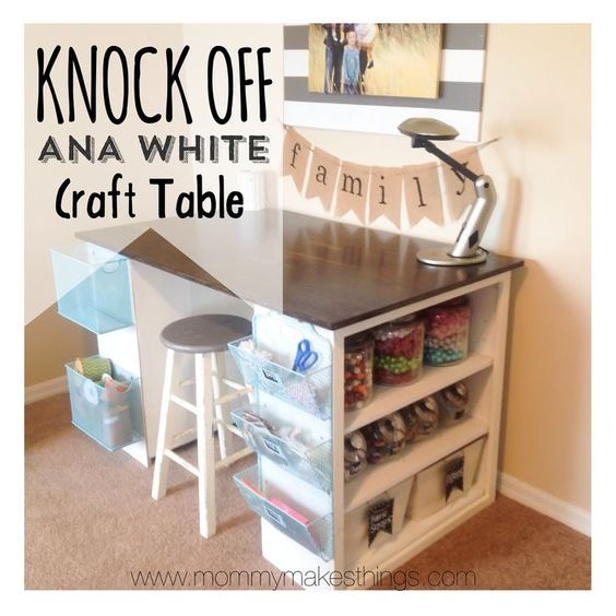 DIY Ana White Craft Table knock off for under $75!! By Mommy Makes Things {Craft Room} #anawhite