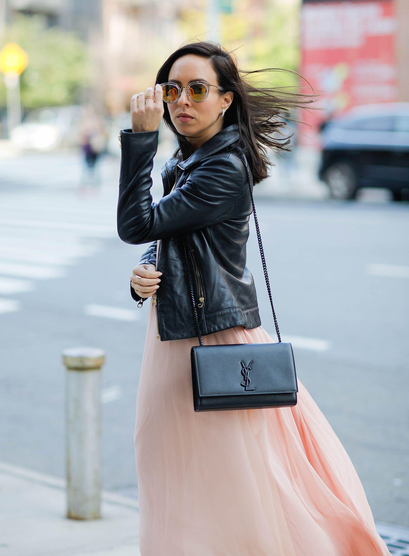 433f131537be Sydne Style wears ysl kate black bag for fall handbag trends