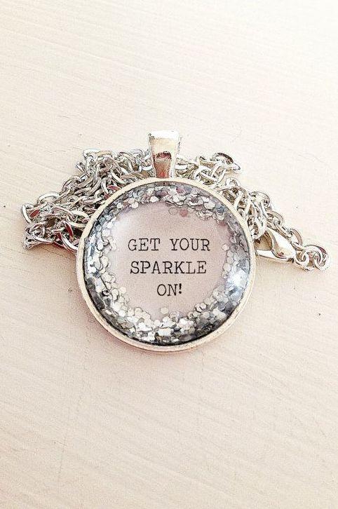 4adba3c0756a Glitter Quote Necklace - Silver Glitter Sparkles - Get Your Sparkle ...