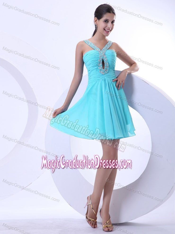 Beaded V-neck Mini-length Aqua Blue 5th Grade Graduation Dresses ...