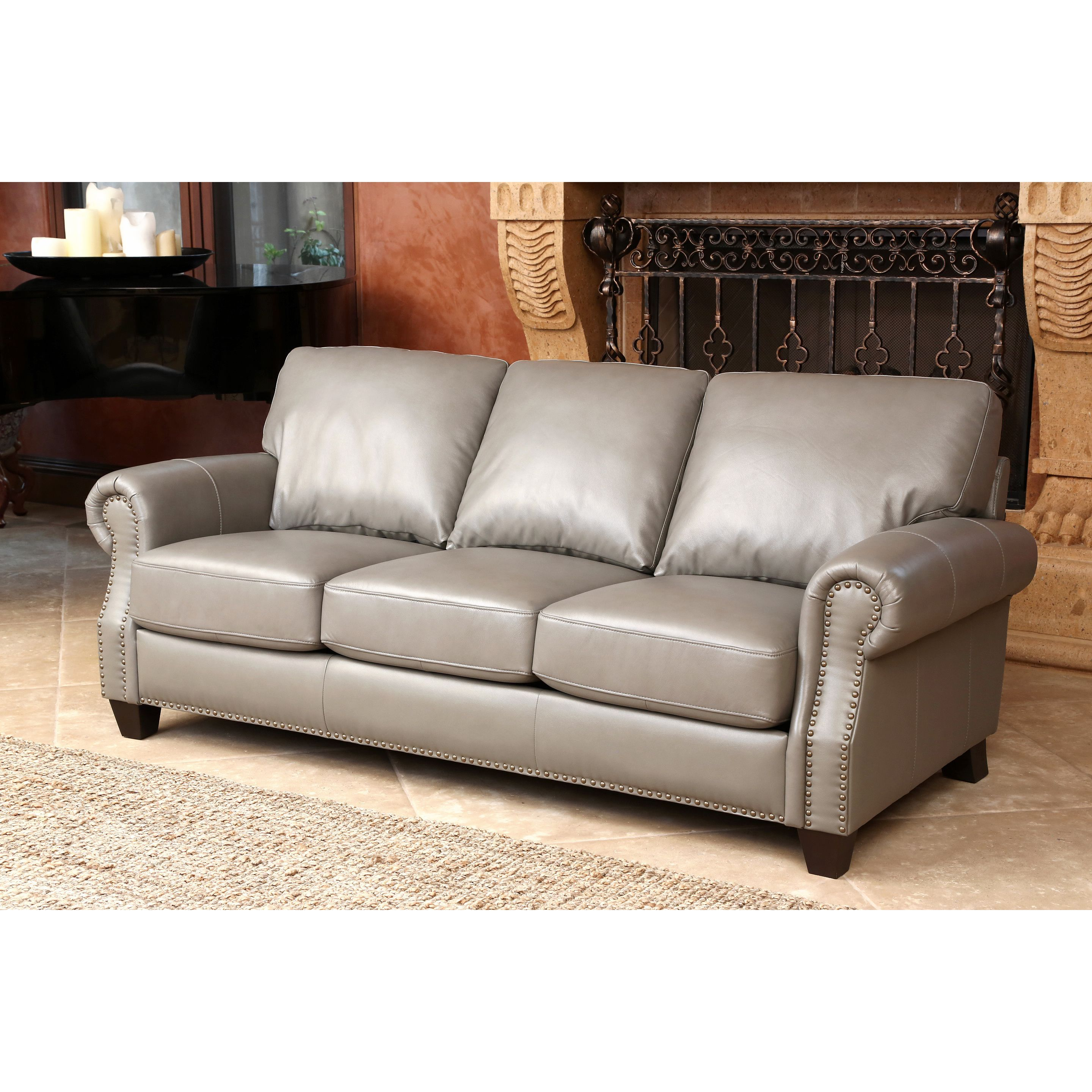 Outstanding Grey Top Grain Leather Gives This Abbyson Living Landon Sofa Theyellowbook Wood Chair Design Ideas Theyellowbookinfo