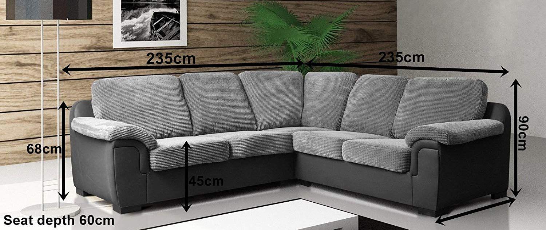 Corner Sofa Amy Grey Fabric Amazon Co Uk Kitchen Home Corner Sofa Couch Sofa
