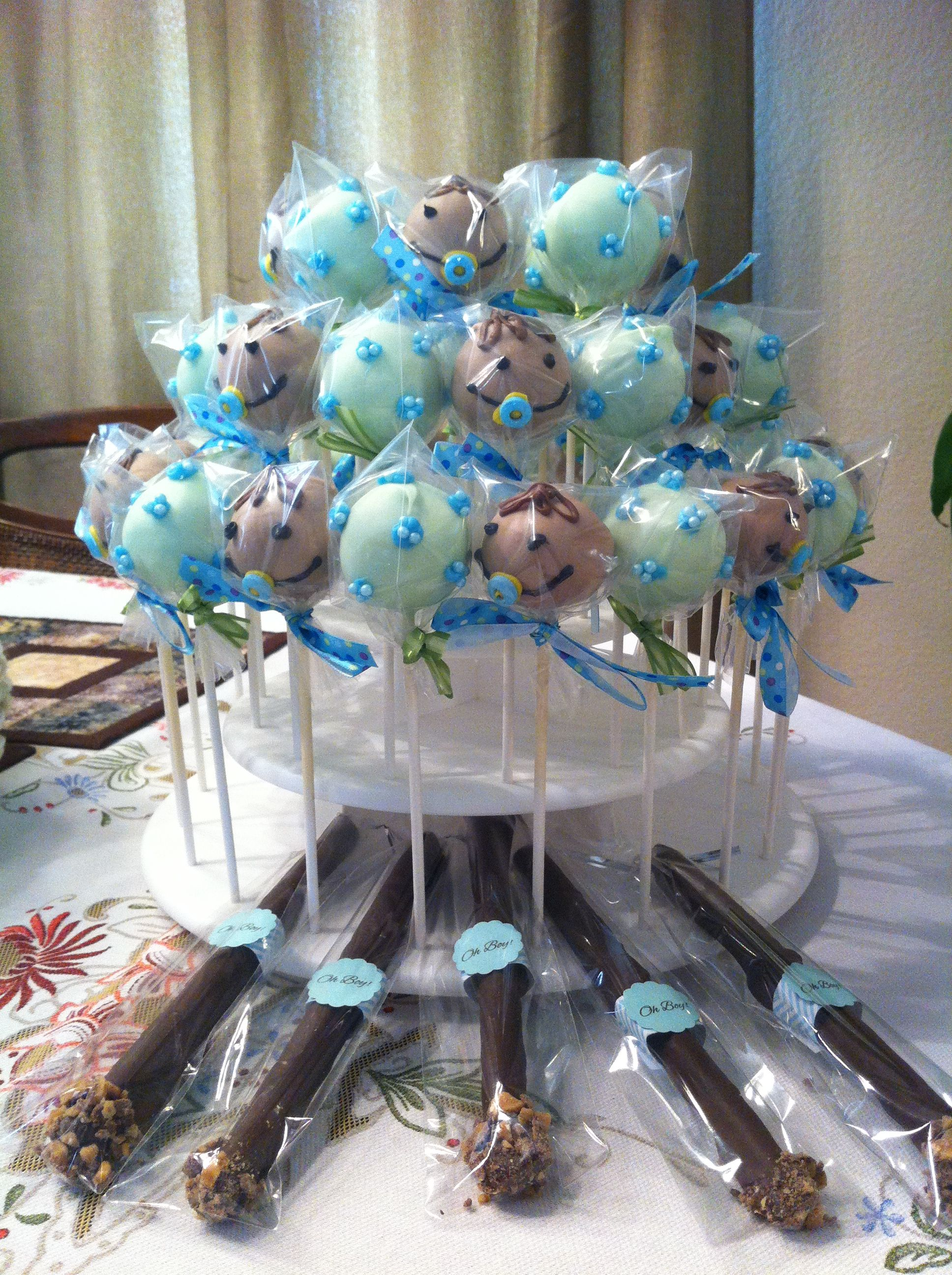 Boy baby shower treats Cake pops and chocolate covered pretzel