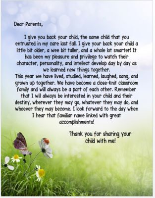 End of the Year Letter to Parents from HearttoHeartTeaching from HearttoHeartTeaching on TeachersNotebook.com (1 page) - I can't believe its that time of the year! Time to say goodbye to students and parents. It's bittersweet. This is a sweet and sincere goodbye and thank you letter to the parents of your students.: