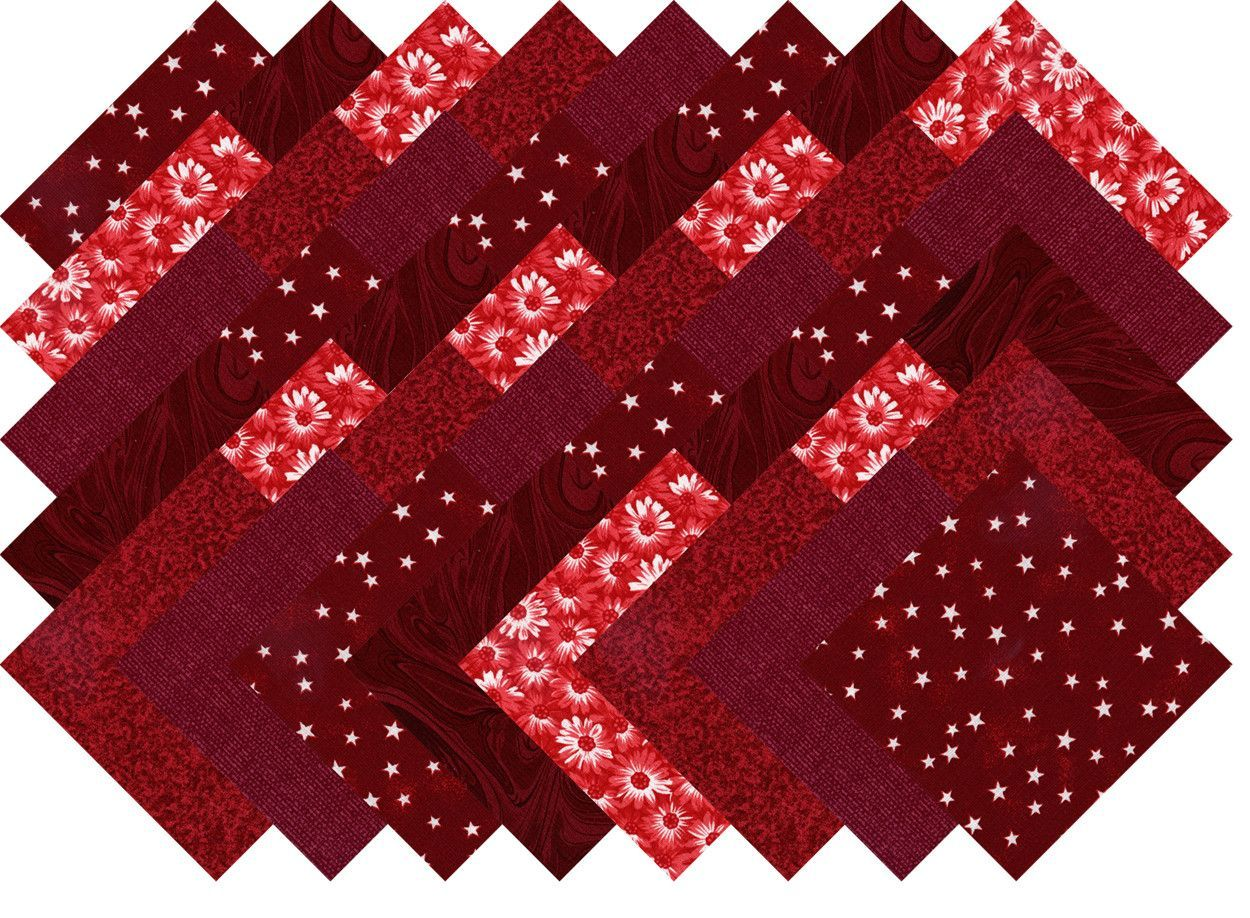 """Red and White Quilt Fabric Blender Collection 40 Precut 5"""" Quilting Squares Charm Pack"""