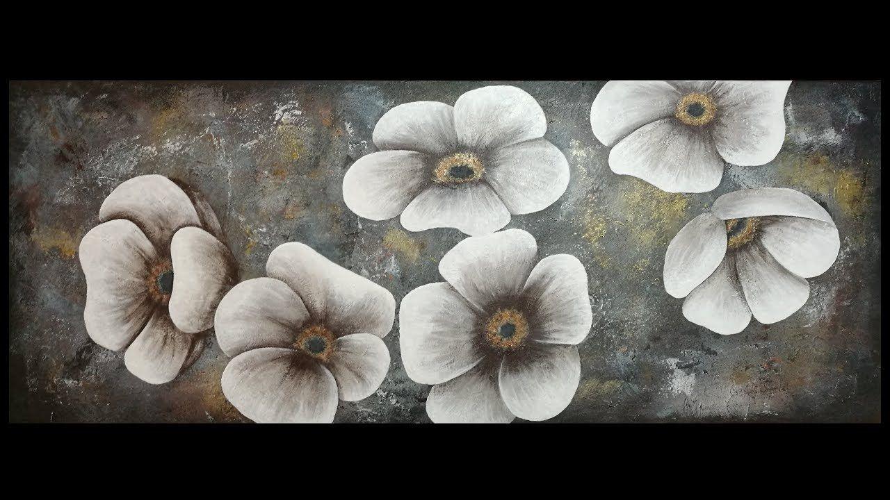 Peindre des Fleurs à l'Acrylique | Peinture texturée ...