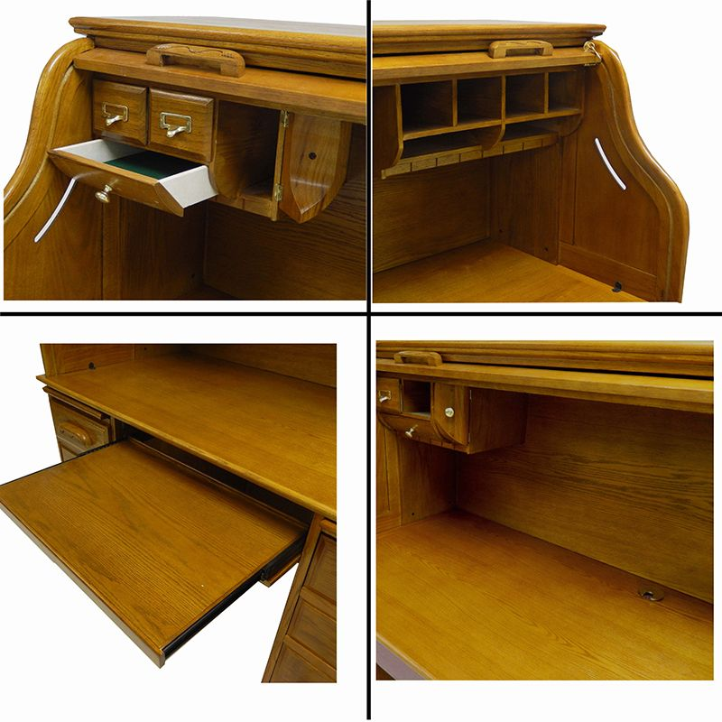 59w Oak Roll Top Computer Desk In Stock Pinterest