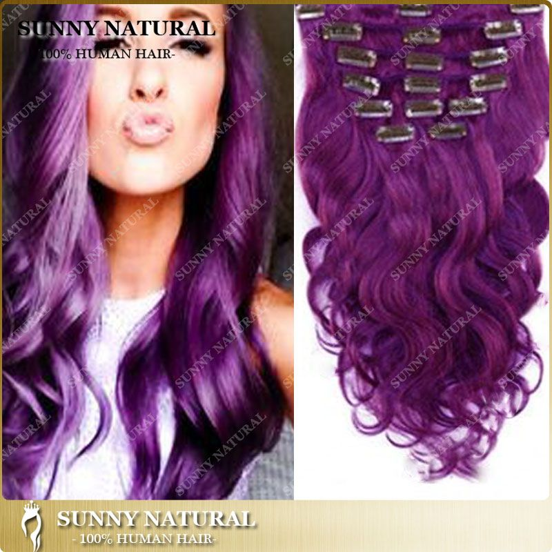 Find More Human Hair Extensions Information About Full Head Purple