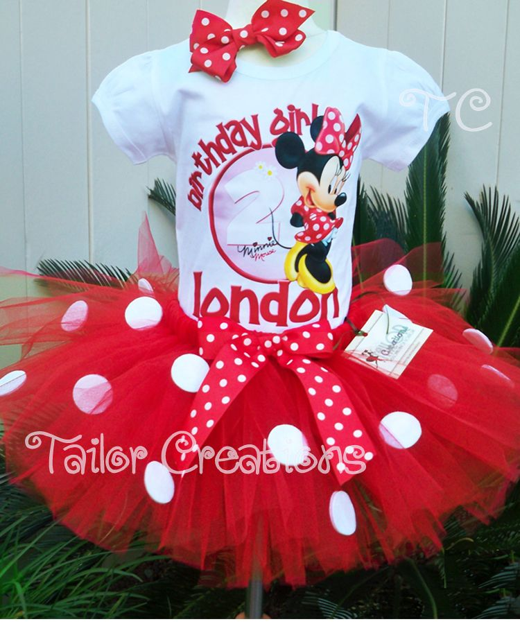 Red Minnie Mouse pink polka dot birthday tutu set Personalized