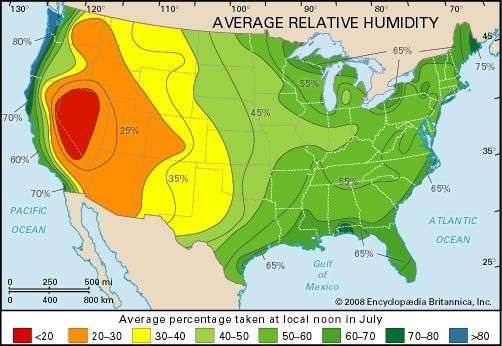 Humidity Healthy Places To Live Relative Humidity Low Humidity Map - Us-humidity-map