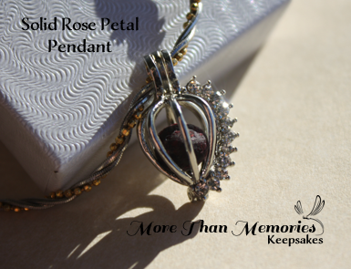 Solid Rose Petal Bead Pendant http://abanister1.wixsite.com/morethanmemories
