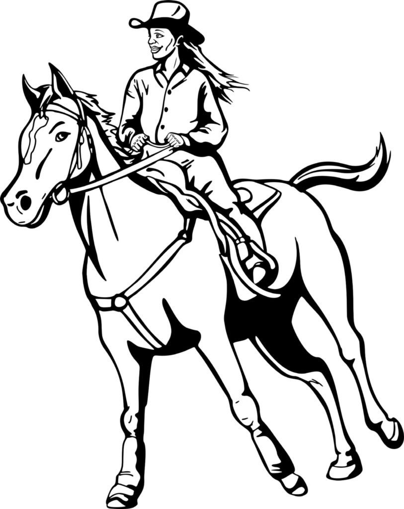 Cowgirl On Horse Coloring Page Horse Coloring Pages Horse Coloring Animal Coloring Pages
