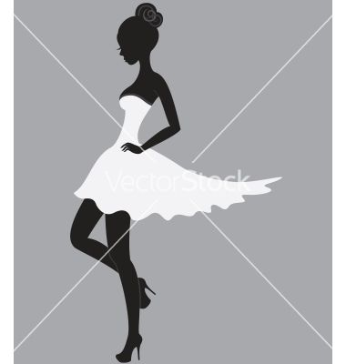 Beautiful girl in white dress vector - by Allaya on VectorStock®