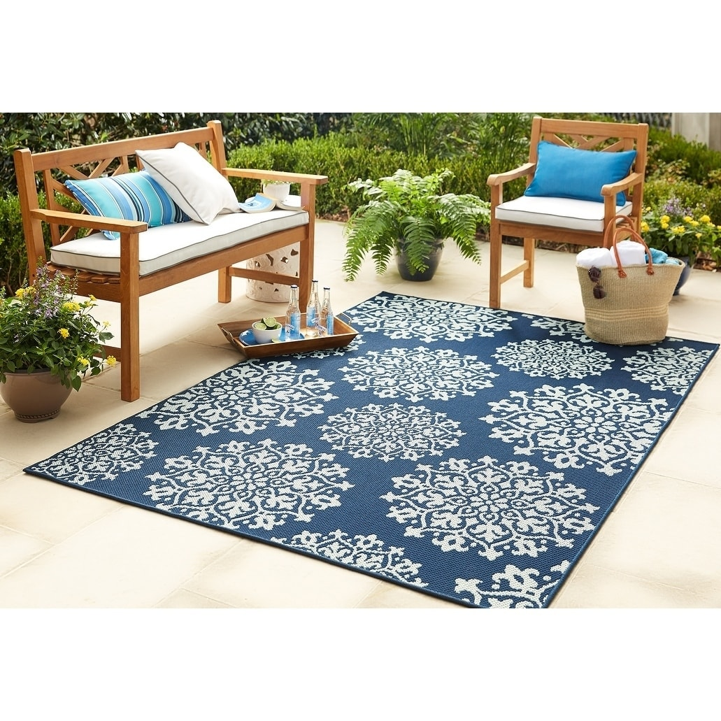Mohawk Home Oasis Sanibel Indoor Outdoor Area Rug 8 X 10 Aqua