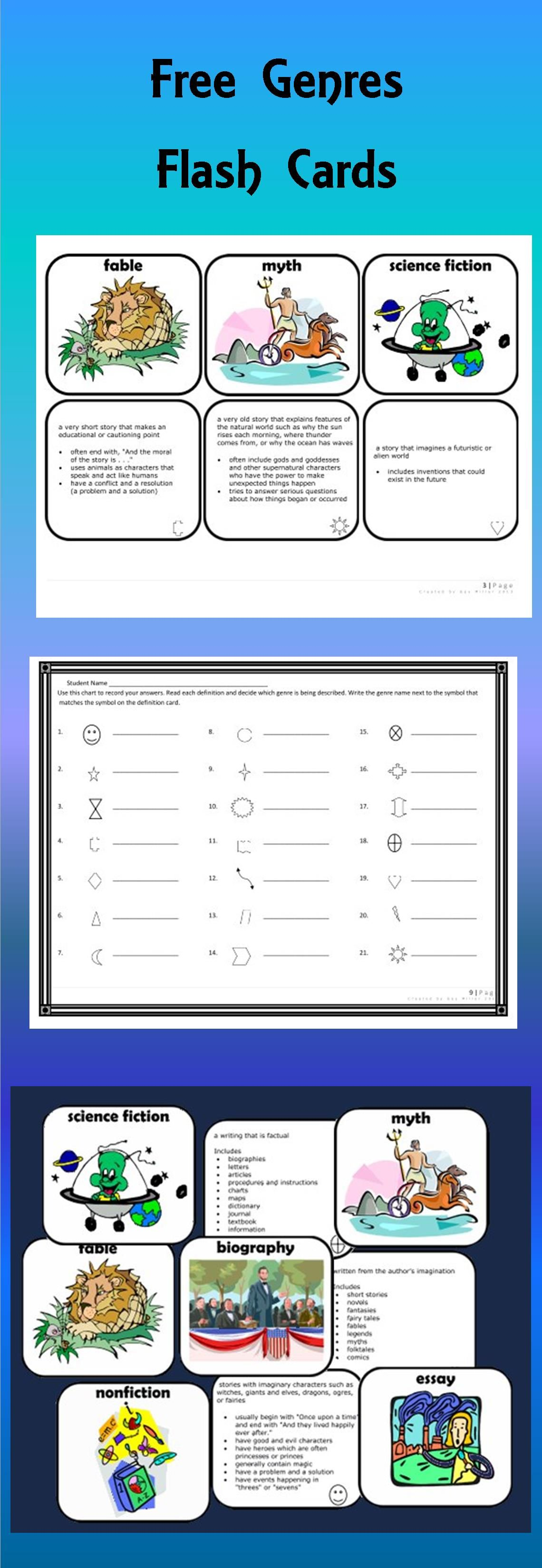 The Genre Flash Cards contain 21 pairs of picture and definition cards. You may use these genre cards to practice identifying genres in a number of fun ways.