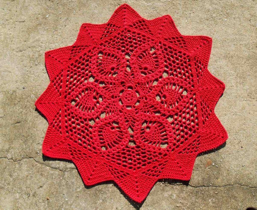 tapete de barbante vermelho de croche