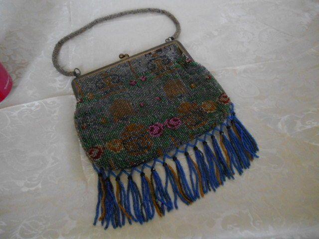 Vintage Edwardian French Glass Beaded Handbag Hanging Bead Fringe ca. 1910 #Unknown #Baguette