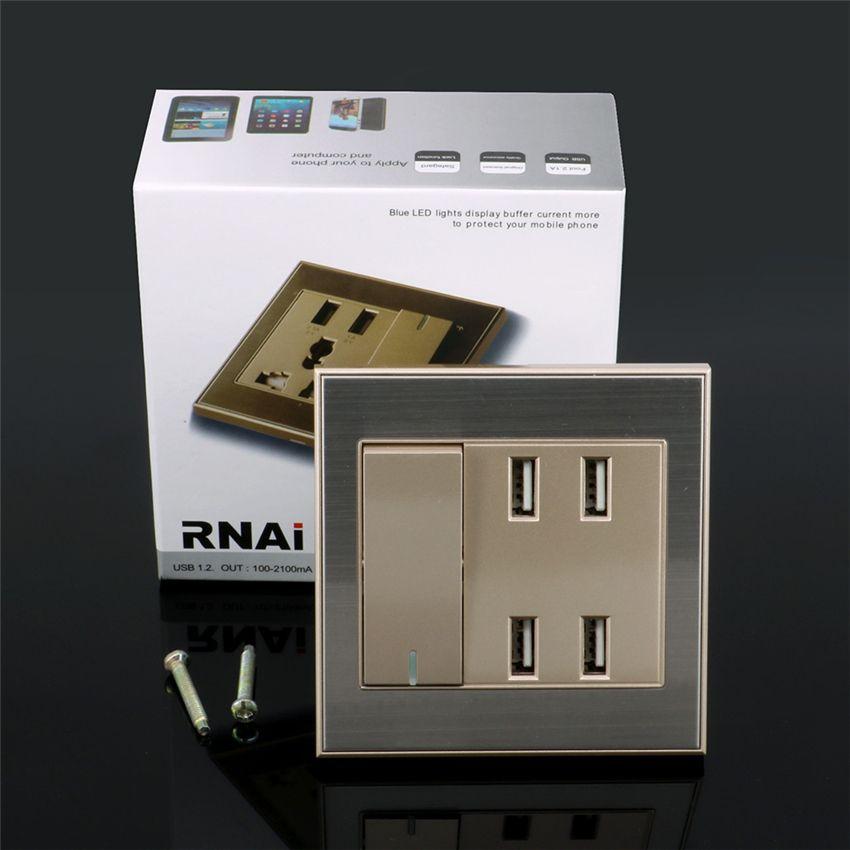Universal Intelligent Socker 4-Ports USB Wall Socket Charger Power ...