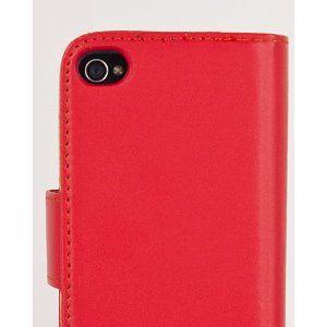 Red Leather Wallet Flip Case & Film for Apple iPhone 4 & 4S - GENUINE JAMMYLIZARD