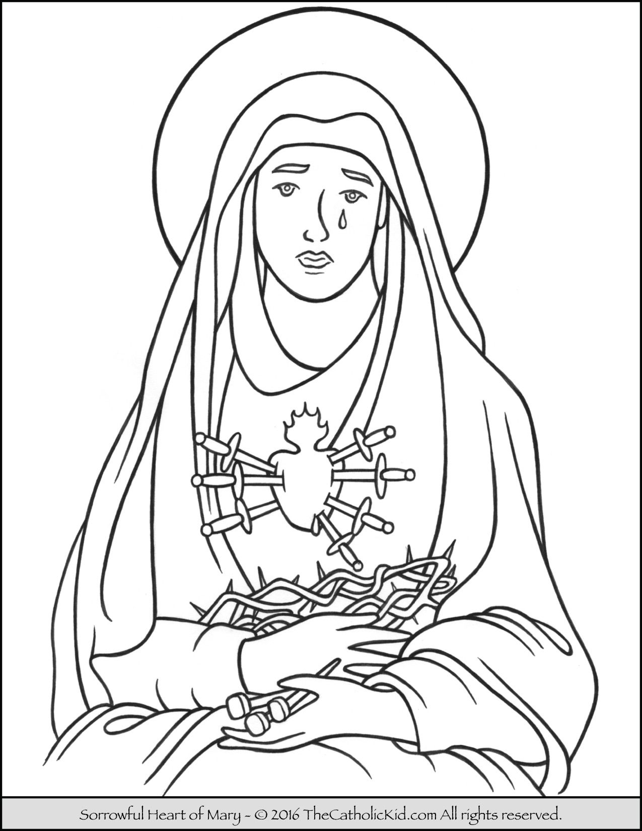 Sorrowful Heart of Mary Coloring Page | Catholic Coloring Pages for ...