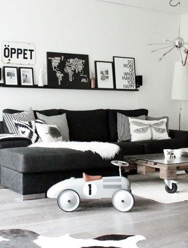 Ƹ̴Ӂ̴Ʒ Des salons en noir et blanc Ƹ̴Ӂ̴Ʒ Salons, Living rooms and Room