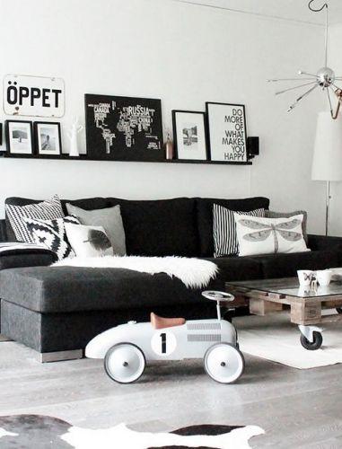 décoration, noir et blanc, salon fauteuil de bureau Pinterest